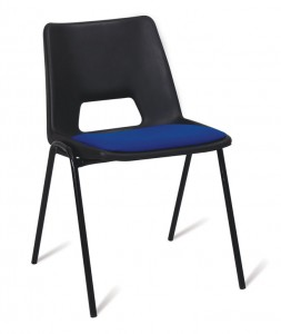 Padded stacking plastic chair